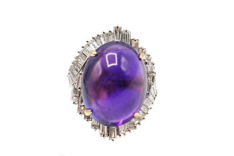 Cabochon Amethyst Diamond 18 Karat Gold 1970s Ring In Excellent Condition For Sale In New York, NY