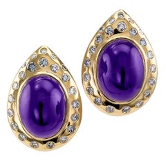 Cabochon Amethyst Diamond Gold Earrings