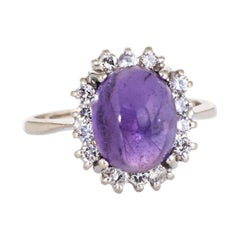 Cabochon Amethyst Diamond Ring Vintage 14 Karat Gold Princess Cocktail Jewelry