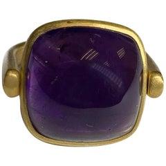 Cabochon Amethyst Flip Ring in 22 Karat Gold, A2 by Arunashi