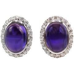 Cabochon Amethyst Platinum Diamond Earrings