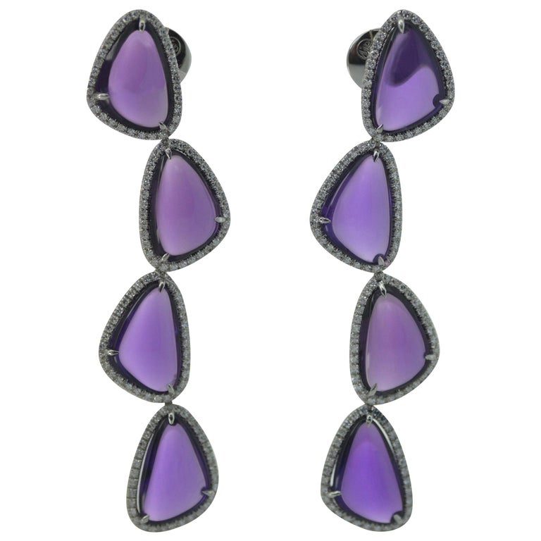 Cabochon Amethysts Single Cut Diamonds 18KT White Gold Earrings For Sale