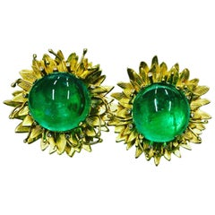18 Carat Yellow Gold Colombian 10 Carat Cabochon and Diamond Flower Earrings