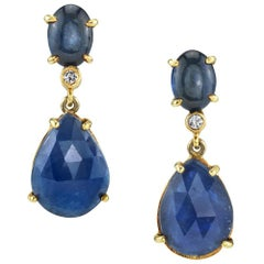 Cabochon & Rose Cut Blue Sapphire & Diamond 18 Karat Yellow Gold Dangle Earrings