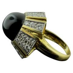 Cabochon Black Onyx and Diamond Ring in 18 Karat Yellow Gold