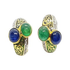 Cabochon Blue Sapphire and Cabochon Emerald with Diamond Earrings 18 Karat Gold