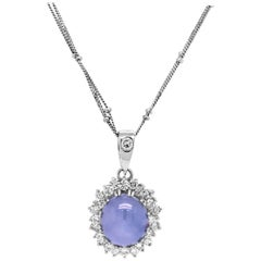 Cabochon Blue Sapphire and Diamond 18 Karat Gold Pendant with Double Link Chain
