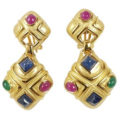 Cabochon Blue Sapphire, Cabochon Ruby, Cabochon Emerald Earrings Set in 18 Karat