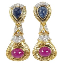 Cabochon Blue Sapphire, Cabochon Ruby with Diamond Earrings Set in 18 Karat Gold