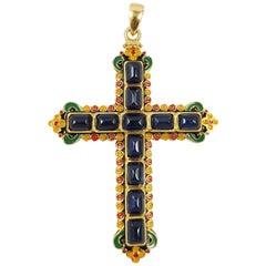Cabochon Blue Sapphire Double Sided Cross Pendant Set in 18 Karat Gold Settings
