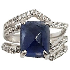 Unheated Blue Sapphire and Diamond Kavant & Sharart Ring Set in 18K White Gold