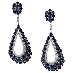 Cabochon Blue Sapphires Dangle Earrings with Accent Diamonds 18 Karat White Gold