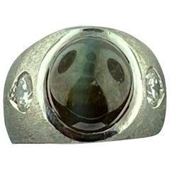 Cabochon Cats Eye Chrysoberyl and Diamond Ring in Platinum