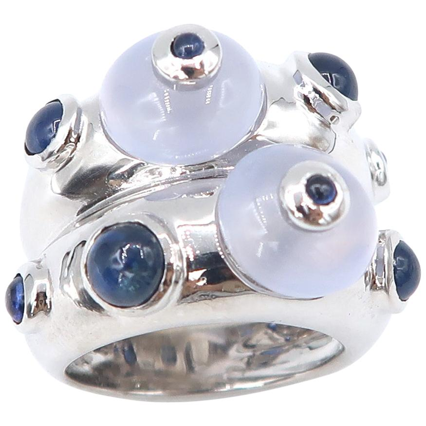 Cabochon Chalcedony and Sapphire 18 Karat White Gold Double Convex Ring