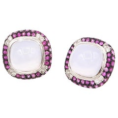 Cabochon Chalcedony Double Step Edge Pink Sapphire Diamond Pavé Clip-On Earrings