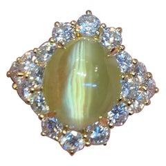 Cabochon Chrysoberyl Cats Eye and Diamond Ring