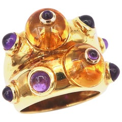 Cabochon Citrine and Amethyst 18 Karat Yellow Gold Double Convex Ring