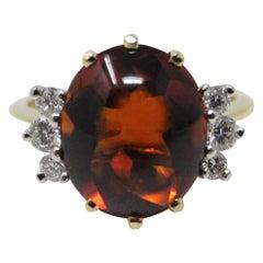 Cabochon Citrine and Diamond Ring