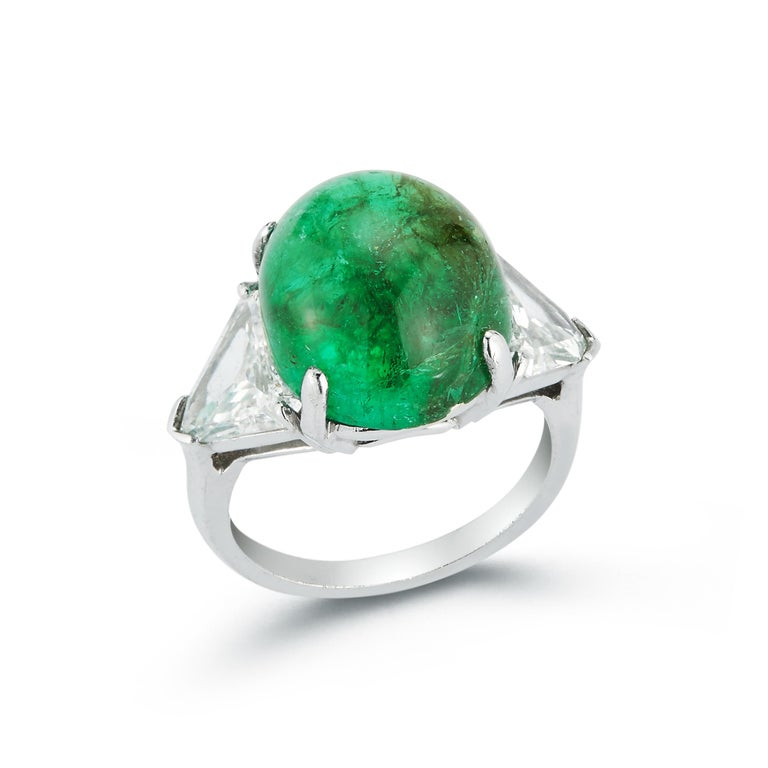Cabochon Colombian Emerald & Diamond Three Stone Ring set in platinum AGL Certified Emerald Weight: 12.30 cts Ring Size: 6 Re-sizable to any size free of charge