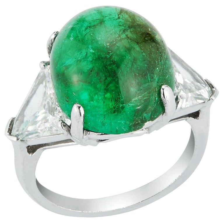 Cabochon Colombian Emerald and Diamond Three-Stone Ring For Sale
