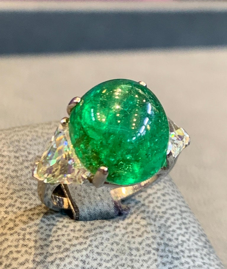 Cabochon Colombian Emerald and Diamond Three-Stone Ring For Sale 1