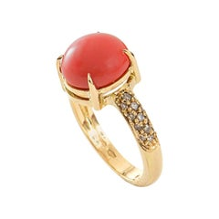 Cabochon Coral and Champagne Diamond 18 Karat Yellow Gold Italian Cocktail Ring
