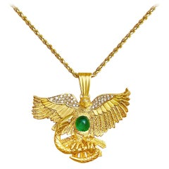 "3.50 Carat Cabochon Cut Colombian Emerald and Gold ""Aguila"" Eagle Motif Pendant"