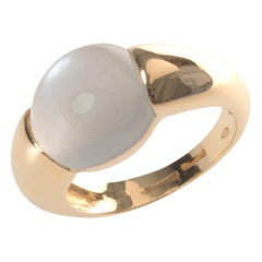 Grey Moonstone Signet Ring 18kt Yellow Gold Made in Italy Handcut Stones