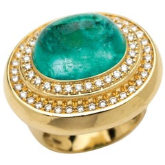 Cabochon Cut Paraiba 'Mozambique' Tourmaline & Diamonds set in 18 K Gold Ring