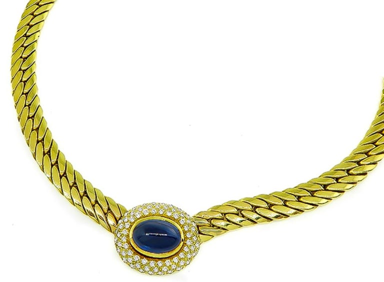 Cabochon Cut Sapphire Diamond Gold Necklace In Excellent Condition For Sale In New York, NY