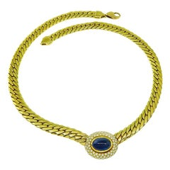 Cabochon Cut Sapphire Diamond Gold Necklace