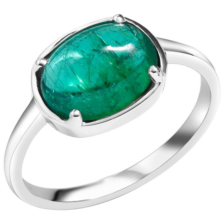 Cabochon Emerald 18 Karat White Gold Cocktail Ring For Sale