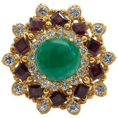 Cabochon Emerald 5 Carat Ring with Rubies 2.4 Carat and Diamonds 1.60 Carat