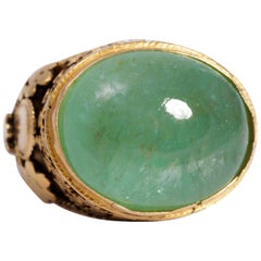 Cabochon Emerald and 18 Karat Yellow Gold Ring