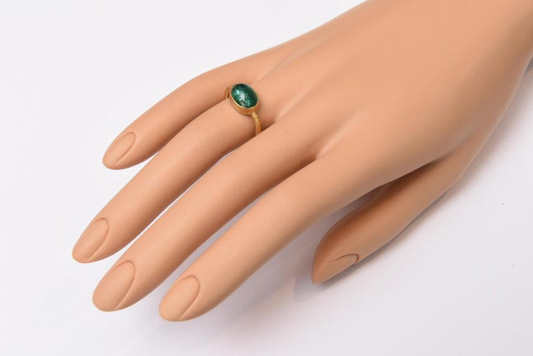 Cabochon Emerald and 22 Karat Gold Ring In Good Condition For Sale In Nantucket, MA