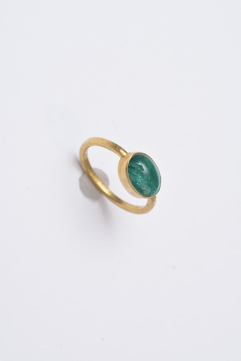 Women's or Men's Cabochon Emerald and 22 Karat Gold Ring For Sale