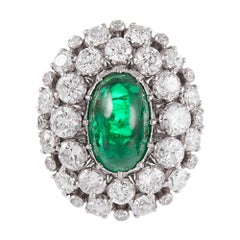 Cabochon Emerald and Diamond Cluster Ring