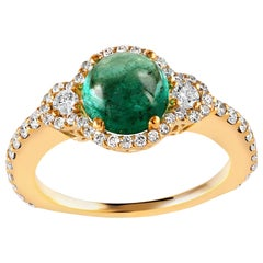 Cabochon Emerald and Diamond Cluster Yellow Gold Ring Weighing 3.60 Carat