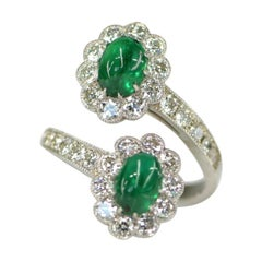 Cabochon Emerald and Diamond Crossover Cluster Engagement Ring