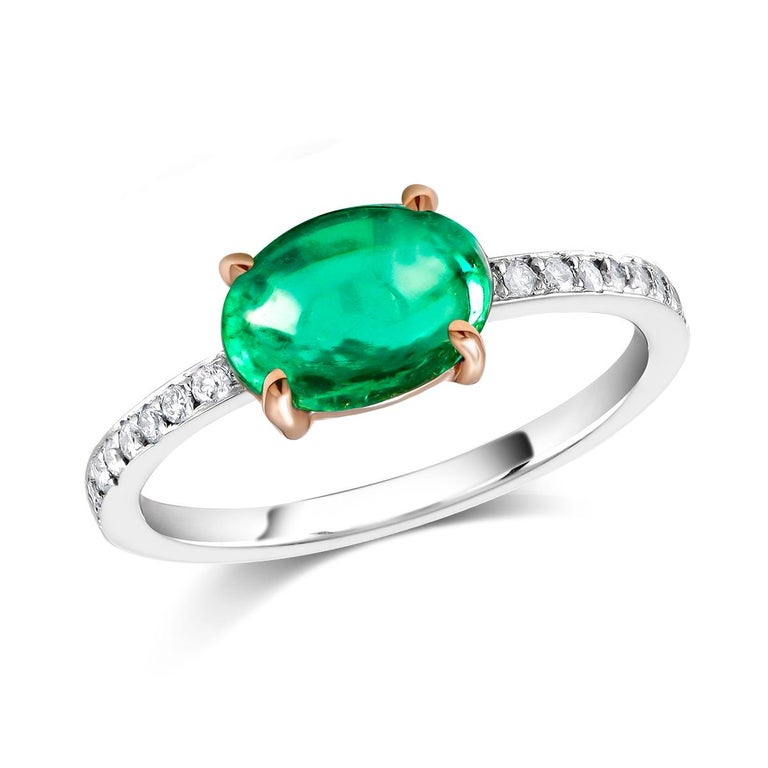 Oval Cut OGI Cabochon Emerald and Diamond Gold Cocktail Ring For Sale