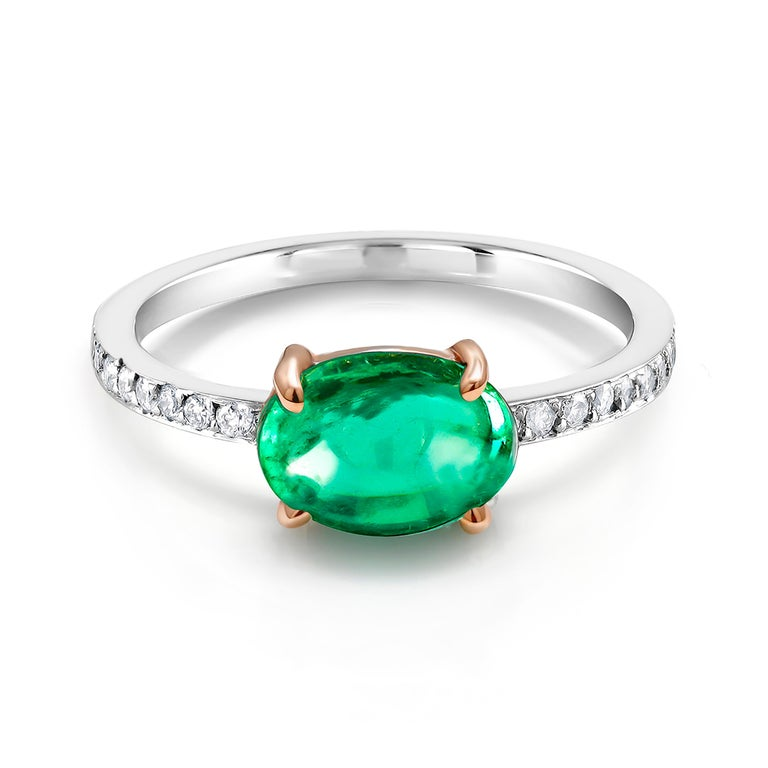 OGI Cabochon Emerald and Diamond Gold Cocktail Ring For Sale 2