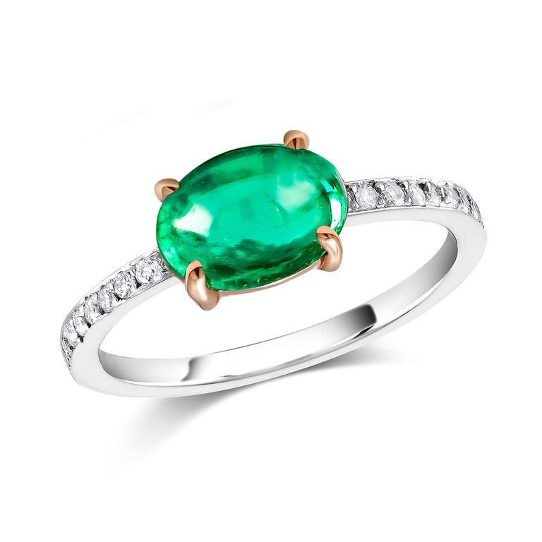 Women's OGI Cabochon Emerald and Diamond Gold Cocktail Ring For Sale
