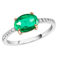 OGI Cabochon Emerald and Diamond Gold Cocktail Ring