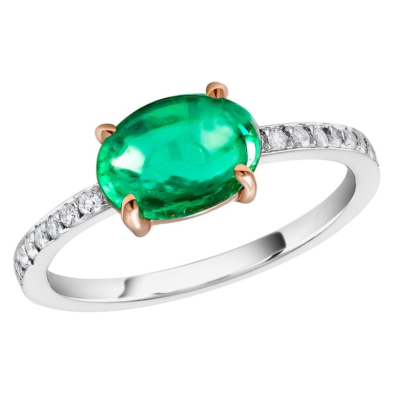 OGI Cabochon Emerald and Diamond Gold Cocktail Ring For Sale