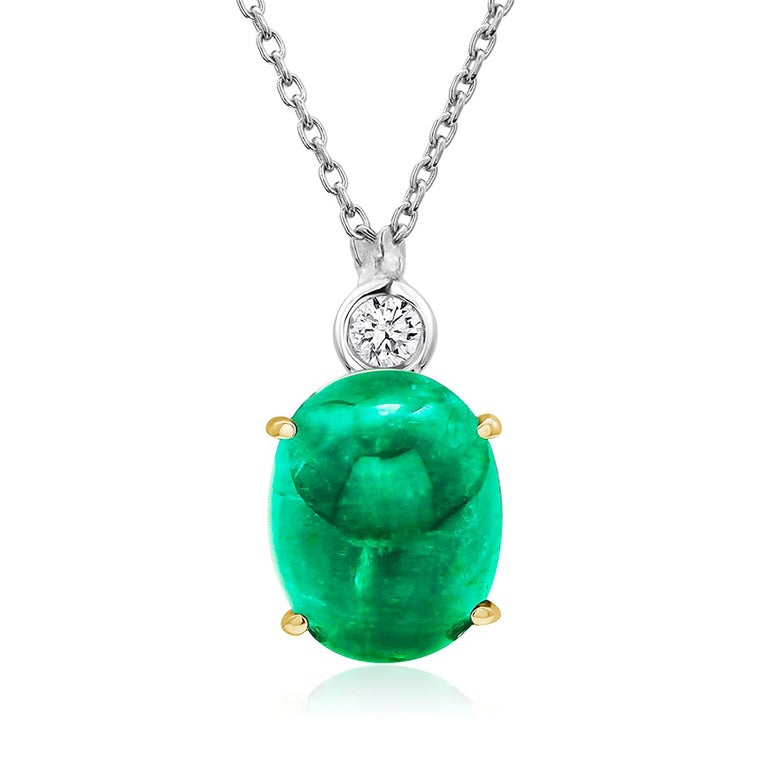 Modernist Cabochon Emerald and Diamond Gold Drop Layered Necklace Pendant For Sale