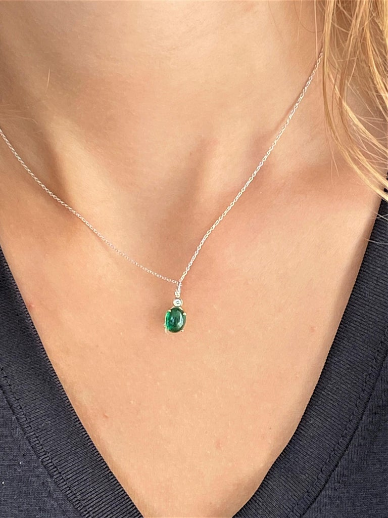 Oval Cut Cabochon Emerald and Diamond Gold Drop Layered Necklace Pendant For Sale