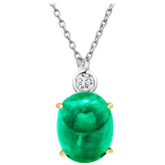 Cabochon Emerald and Diamond Gold Drop Layered Necklace Pendant