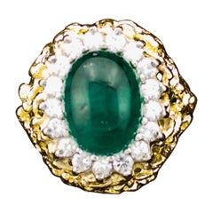 Cabochon Emerald and Diamond Ring in 18 Karat Yellow Gold, circa 1960s