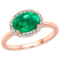 Cabochon Emerald and Diamond Rose Gold Cocktail Cluster Ring