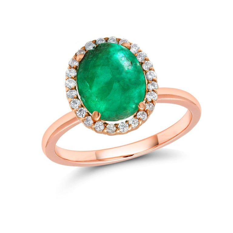 Oval Cut Cabochon Emerald and Diamond Rose Gold Fashion Cocktail Ring For Sale